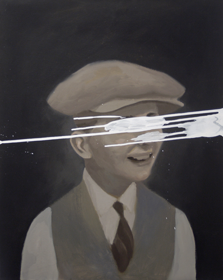 Boy in Cap. oil and white gesso on canvas. 2014